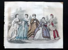 Godey 1865 Hand Col Fashion Print. June